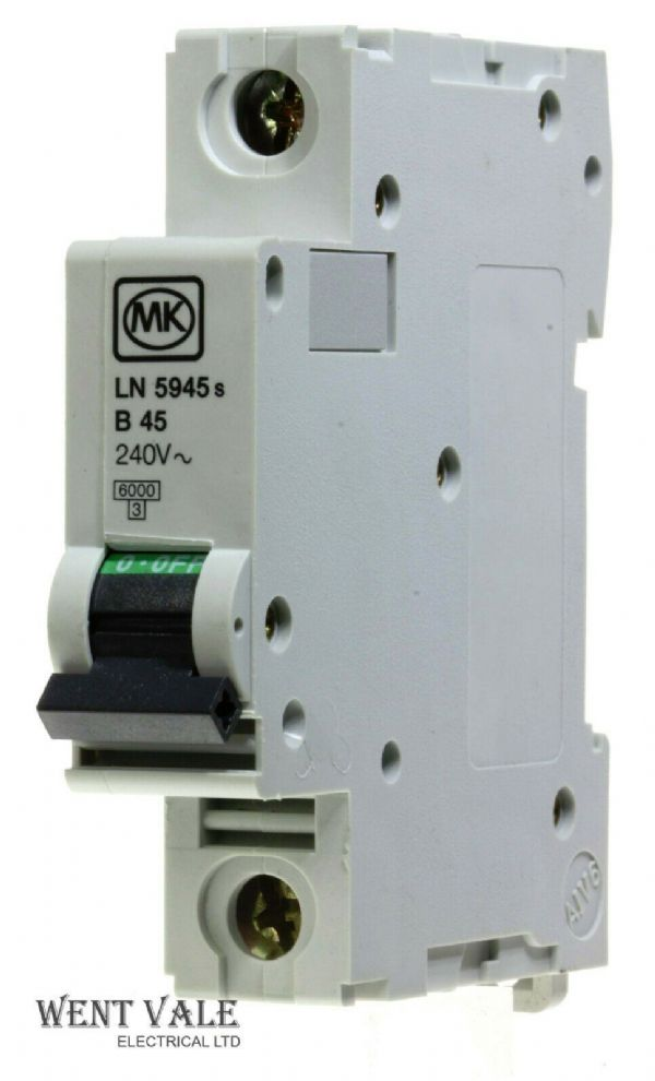 MK Sentry - LN5945s - 45a Type B Single Pole MCB Used